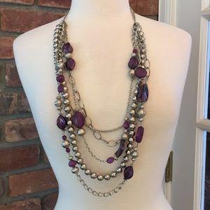 Chico's Multi Chain Necklace Purple Silver Tone